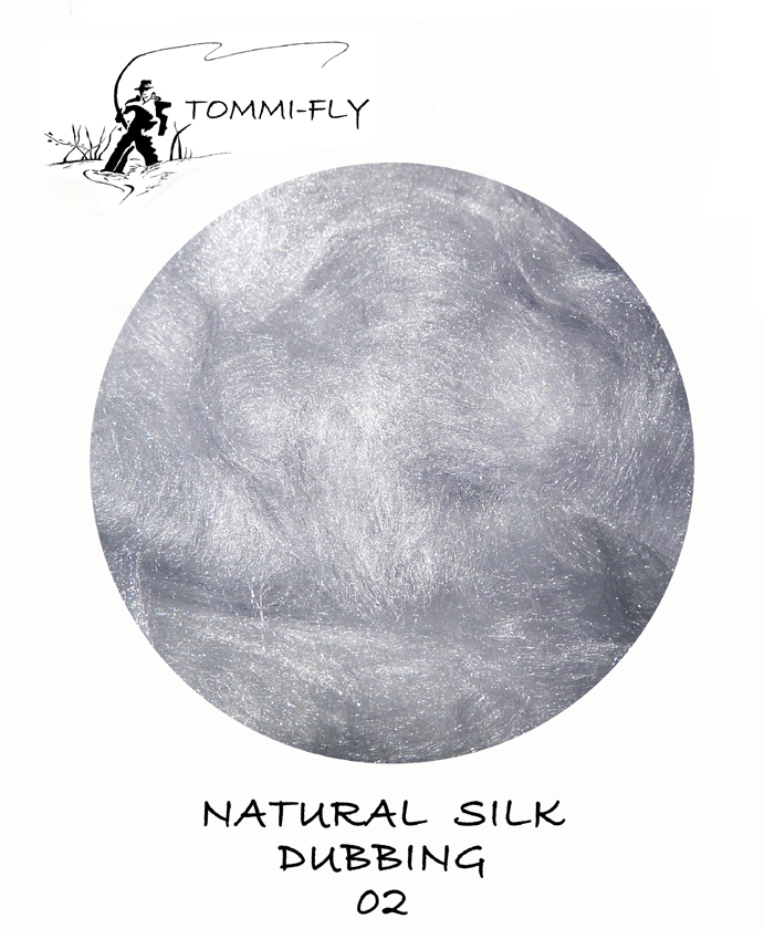 Natural SILK dubbing - Grey